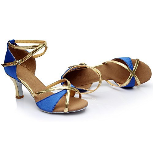 Oasap Women's Peep Toe Cross Strap High Heels Latin Dance Shoes. Blue
