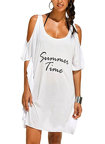L-Peach Damen Sommer V-Ausschnitt Strandtunika Strandkleid Sommerkleider Strandhemd Bademode Bikini Cover Up Lose One Size Weiß
