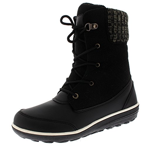Womens Thermal Duck Winter Waterproof Snow Durable Ankle Boots - Black -...