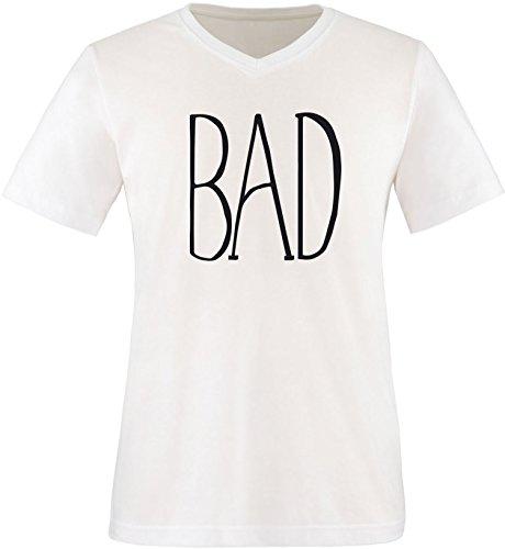 EZYshirt® BAD Herren V-Neck T-Shirt Weiss/Schwarz