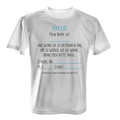 Fashionalarm Herren T-Shirt - Hallo Mein Name ist | Fun Shirt mit lustigem Spruch zur Vatertag Herrentag Himmelfahrt Party zum selber Beschriften Weiß
