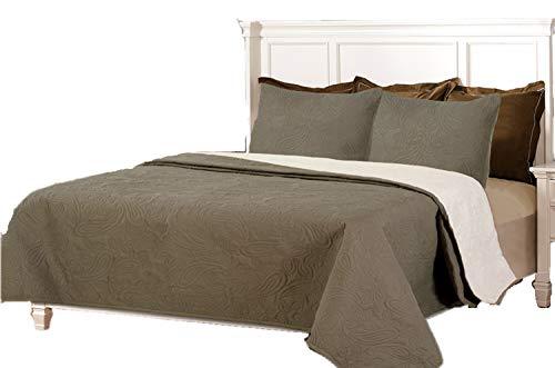 Couvre-lits boutis réversible à carreaux BEGUR 270x260+2 cuadrantes (para cama de 180/200) Beige