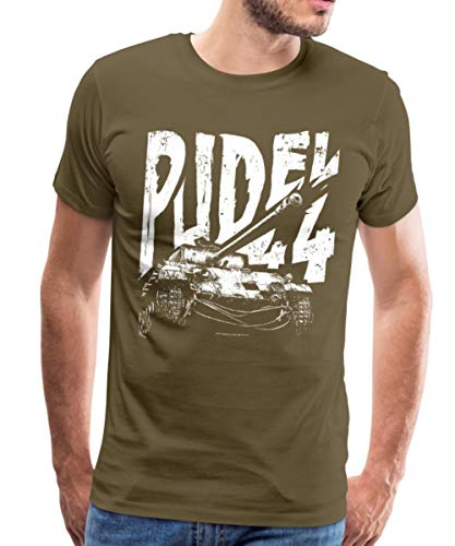 Spreadshirt World of Tanks Pudel 44 Panzer Männer Premium T-Shirt, M, Khaki -