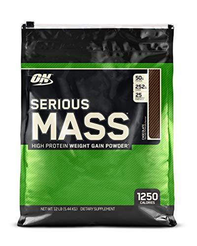optimum nutrition serious mass, proteine in polvere per aumentare la massa muscolare, cioccolato, 5.45 kg, 16 porzioni nutritioni