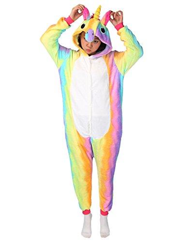 Tier Karton Kostüm Einhorn PyjamaTierkostüme Jumpsuit Erwachsene Schlafanzug Unisex Cosplay (S(Höhe142-155CM), (Regenbogen Kostüme Mädchen)