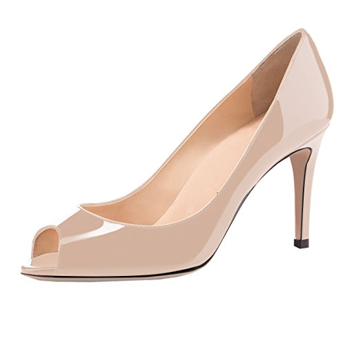 elashe Damen Peeptoe Pumps | 8cm Stiletto High Heel | Bequeme Lack Stilettos Beige EU38 -