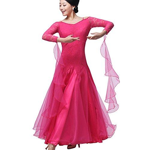 Ballroom Dance Kleider für Frauen Professionel Tanzkostüme üben Lace Sleeves Rückenfrei Modern Walzer Tango Tanzende Kleidung, Rose, - Lace Unitard Tanz Kostüm