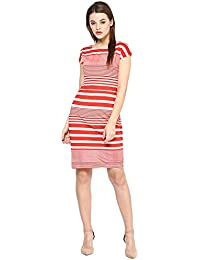 Marie Lucent Red and White Bodycon Dress in Cotton Fabric with Cap Sleeve