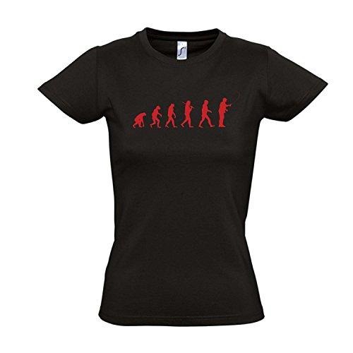 Damen T-Shirt - EVOLUTION - Angeln Sport FUN KULT SHIRT S-XXL Deep black - rot