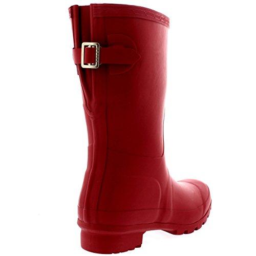 Damen Original Adjustable Back Short Gummistiefel Regen Schnee Festival Stiefel Dunkelrot