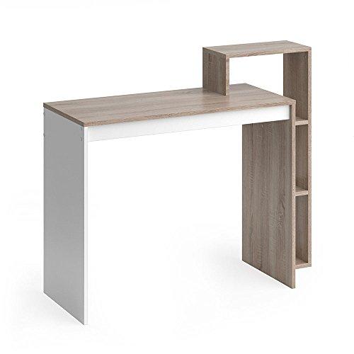 Vicco Schreibtisch Leo 110 x 91 cm Weiß/Eiche Sonoma/Anthrazit - Schreibtisch Arbeitstisch Bürotisch (Weiß/Sonoma Eiche)