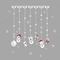SALAKA 1PC Christmas Snowman Bead Curtain Wall Sticker Window Glass Decal Wall Sticker