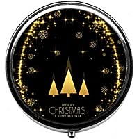 LinJxLee Merry Christmas Tree Lights Round Pill Case Pill Box Tablet Vitamin Organizer Easy to Carry preisvergleich bei billige-tabletten.eu