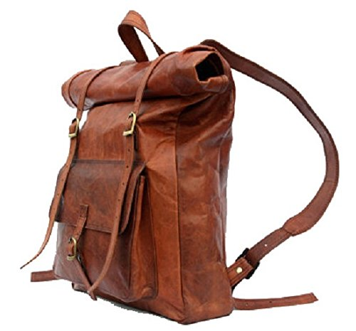 ADIMANI Vintage Handcrafted Original Leather Travel Backpack Rucksack Bag Laptop Macbook with Size 14Lx24Hx6W inches