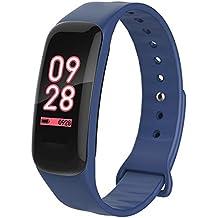 YOun Fitness Trackers, C1 PRO - Pulsera inteligente con monitor de frecuencia cardíaca de presión arterial de oxígeno impermeable, color azul