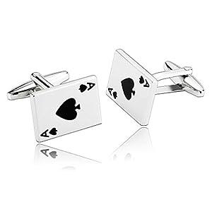 AnazoZ Schmuck Edelstahl Herren Manschettenknöpfe Poker Karten Mode Silber Schwarz, Manschetten Knöpfe für Männer