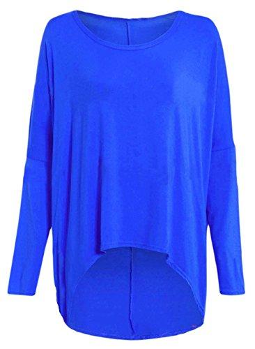 Damen Übergröße schulterfrei asymmetrisch Baggy High Low Tunika 8-22 Blau - Königsblau