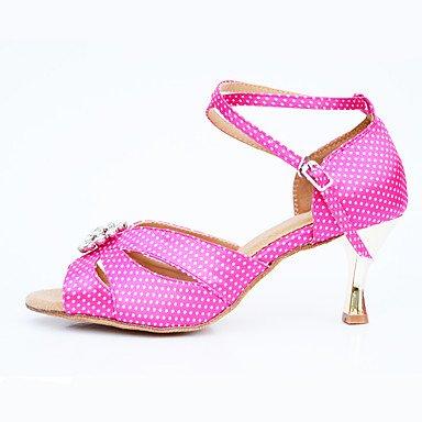 Scarpe da ballo-Personalizzabile-Da donna-Balli latino-americani Moderno Salsa-Tacco su misura-Raso Di pelle Vernice-Blu Viola Rosso Purple