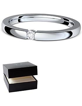 Verlobungsringe Silber 925 ❤️❤️❤️ Spannring von AMOONIC mit SWAROVSKI Zirkonia Stein Silber-Ring Damen-Ring wie...