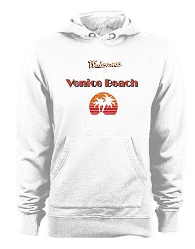 Felpa con cappuccio Welcome to Venice Beach - Tutte le taglie Bianco