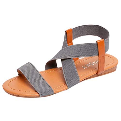 Damen Bohemian Wide Band Flache Sandalen Open Toe Cross Knöchelriemen Sommer Freizeitschuhe - Schuhe Für Kleid Qupid Frauen