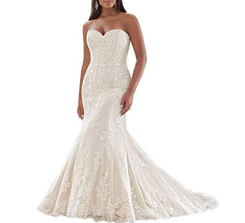 Angel Formal Dress Damen Lange Schnuckel Spitze Appliques Perlstickerei Meerjungfrau Brautkleid Hochzeitskleid Beige , 44