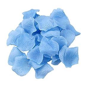 Shatchi 11616-ROSE-PETALS-LIGHT-BLUE-1000 - Confeti de pétalos de rosa de seda, 1000 unidades, color azul claro, para cumpleaños, aniversario, boda, bautizo, fiesta de comunión