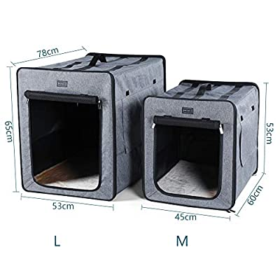 Petsfit Light Fabric Portable Strong Pet Crate, Foldable Pet Carrier, Soft Kennel with Fleece Mat,Grey Color from Xiamen JXD E-commerce Co., Ltd