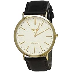 NY London designer Slim Damen/Herren Rinder Leder Armband Uhr Schwarz Weiß Gold super flach inkl.Uhrenbox