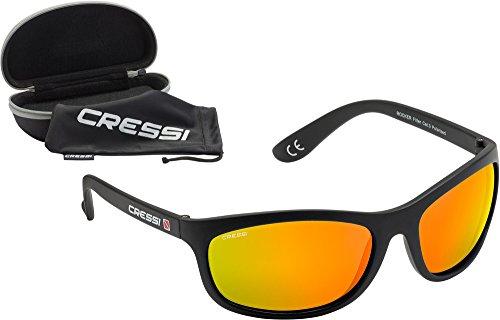 Cressi Unisex Wassersportbrille Rocker, schwarz/verspiegelte gläser orange,  M, XDB100018