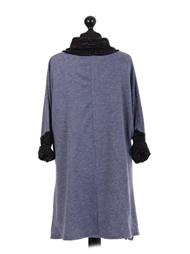 LavishFashionTown - Top à manches longues - Femme Taille Unique bleu glace