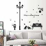 Die Katzen unter der Straßenbeleuchtung Wandaufkleber Ausgangsdekor Wohnzimmer Kunst Aufkleber schwarz Vinyl Poster selbstklebende Film
