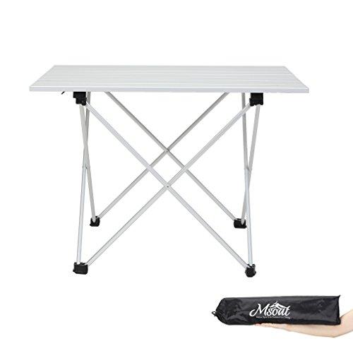 msoat Camping Tisch zusammenklappbar Aluminium Rolle für Wandern Reisen Outdoor Picknick Grill Herd, silber (Aluminium-tisch)