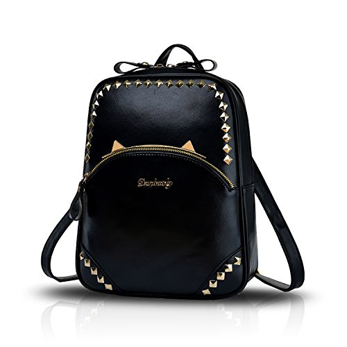 Tisdaini Damen Schultertasche Mode Reise Rucksack Casual Handtaschen Student Bag Nieten Wallet