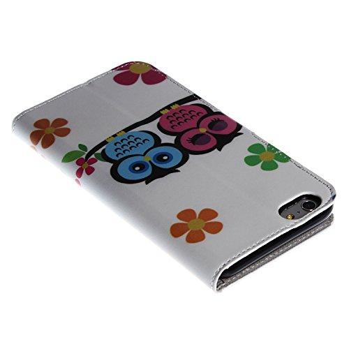 """wortek Flip Case Apple iPhone 6 Plus (5,5"""") Tasche Etui Magnetverschluss Standfunktion & Fächer für Karten Eule Weiß Grün 2 Eulen Weiß Bunt"""
