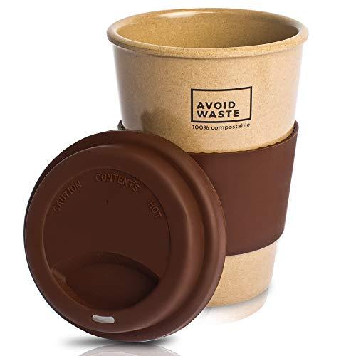 avoid waste - Nachhaltiger Kaffee-Becher to go aus Reishülsen. der Mehrweg-Becher ist Pflanzlich,...
