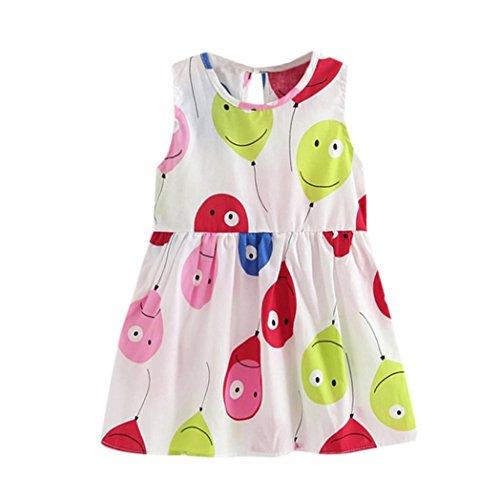 Squarex Kleid für Mädchen im Alter von 1-6Jahren, für den Sommer, Prinzessin, Blumendruck, für Kinder-Party, Hochzeiten, ärmelloses Kleid, Kinder, Balloon print, 3-4 ()