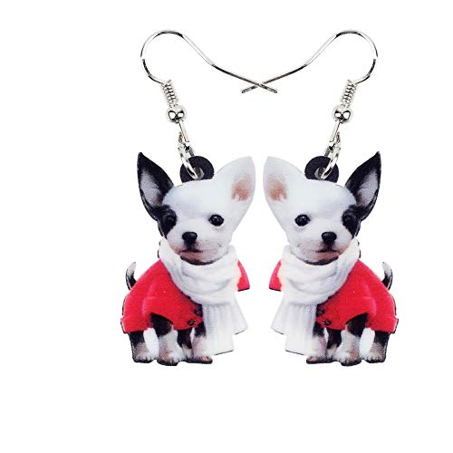 Bonsny Damen Kinder Cappuccino, Katze, Hund Acryl Ohrringe (Chihuahua Hund) (Cosplay Für Hunde)