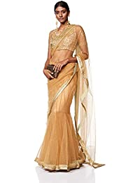 RI by Ritu Kumar Net Saree with Blouse Piece (SRBNLNETATP883A773-S_Khaki_One Size)