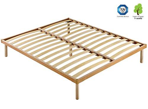 Marcapiuma - rete a doghe fissa matrimoniale 160x190 alta 35 cm modello p.r. in legno di faggio naturale resinato e multistrato + 5 piedi legno massello di faggio - ortopedica - 100% made in italy