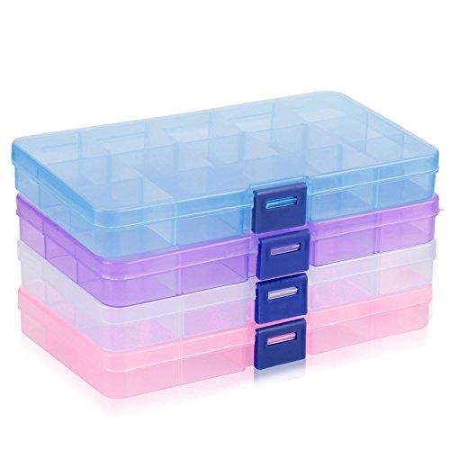 Plastik Aufbewahrungsbox, innislink Sortierbox Einstellbar Fächer für die Speicherung, Ohrringe, Ringe, Perlen und andere Mini waren Schmuckschatulle Werkzeugcontainer, 4 Packungen(4 Farben)