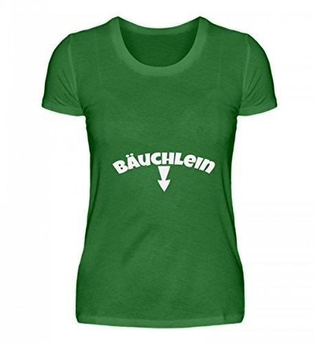 Shirtee Hochwertiges Damen Organic Shirt - Bäuchlein - ein wegweisendes Shirt für Alle Schwangeren oder Einfach So Dickerchen, Die Sich Einen Spaß Aus Ihrem Bäuchlein Machen. Kelly Green