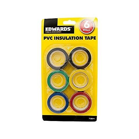 6Isolierung Tapes 16mm Elektrische Elektriker PVC Isolierbänder schwarz grün. (Schwarz 18 Wheels)