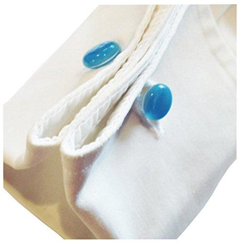 """Manschettenknöpfe: """"Manschettis"""" aus Quarzglas, 2 Stück, verschiedene Farben (transparent-blau)"""
