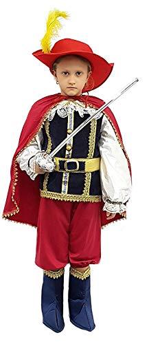PICCOLI MONELLI Costume Moschettiere Bambino 1 2 Anni Dartagnan Vestito Caldo di Carnevale con Accessori e Spada Giocattolo