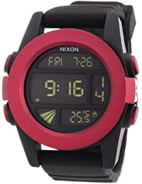 "Nixon Unisex-Armbanduhr A1971307-00, \""The Unit Dark Red/Black Ano\"", Chronograph Quarz Silikon"