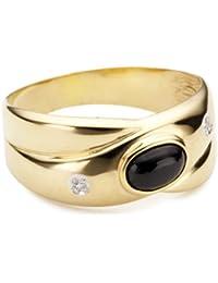 Bella Donna Damen- Ring 333 Gelbgold teilrhodiniert 2 Diamanten ca. 0,01 ct. Weiß Piquè