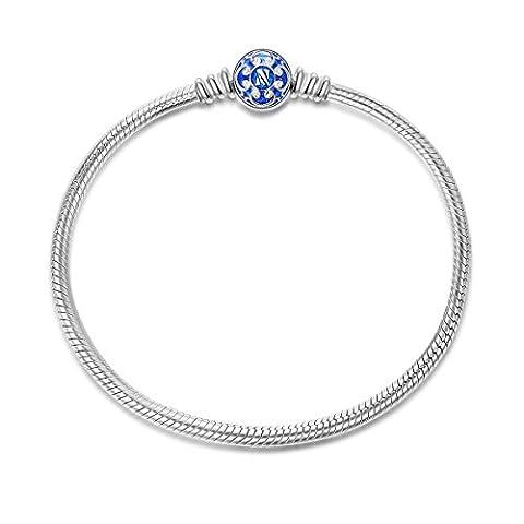 NinaQueen Charms Bracelet pour femme argent 925 Bleu compatible avec pandora charms bijoux Cadeau Saint Valentin Fete des Meres Anniversaire Cadeaux Noel Maman Mere Fille