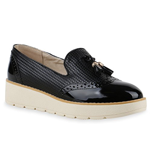 Damen Slipper Lack   Plateau Loafers   Metallic Schuhe Profilsohle   Loafer Flats Glitzer   Slippers Quasten Lochung Schwarz Lack
