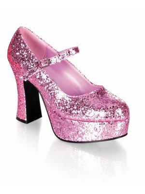 1 Paar Plateau Pumps, glitter-rosa Gr. (Schuhe Glitter Rosa Spitzen)